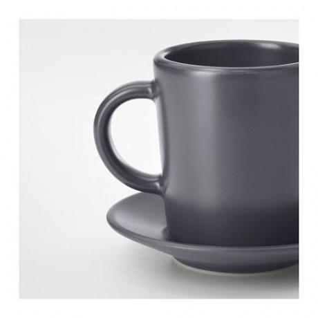 Чашка для кофе эспрессо с блюдцем ДИНЕРА темно-серый фото 4