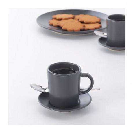 Чашка для кофе эспрессо с блюдцем ДИНЕРА темно-серый фото 5