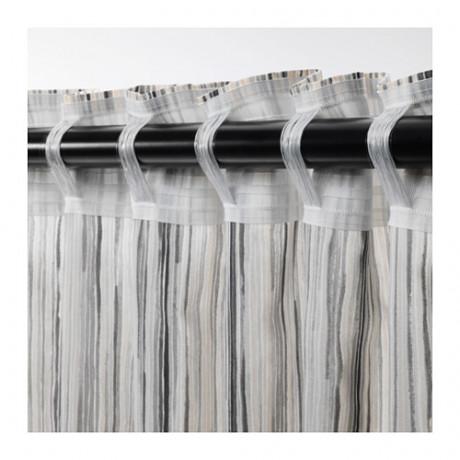 Гардины, 1 пара ДАГРУН белый, серый фото 4